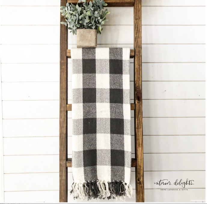 Gray & Cream Buffalo Check Throw
