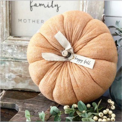 Large Light Orange Herringbone  Pumpkin - Interior Delights Parker