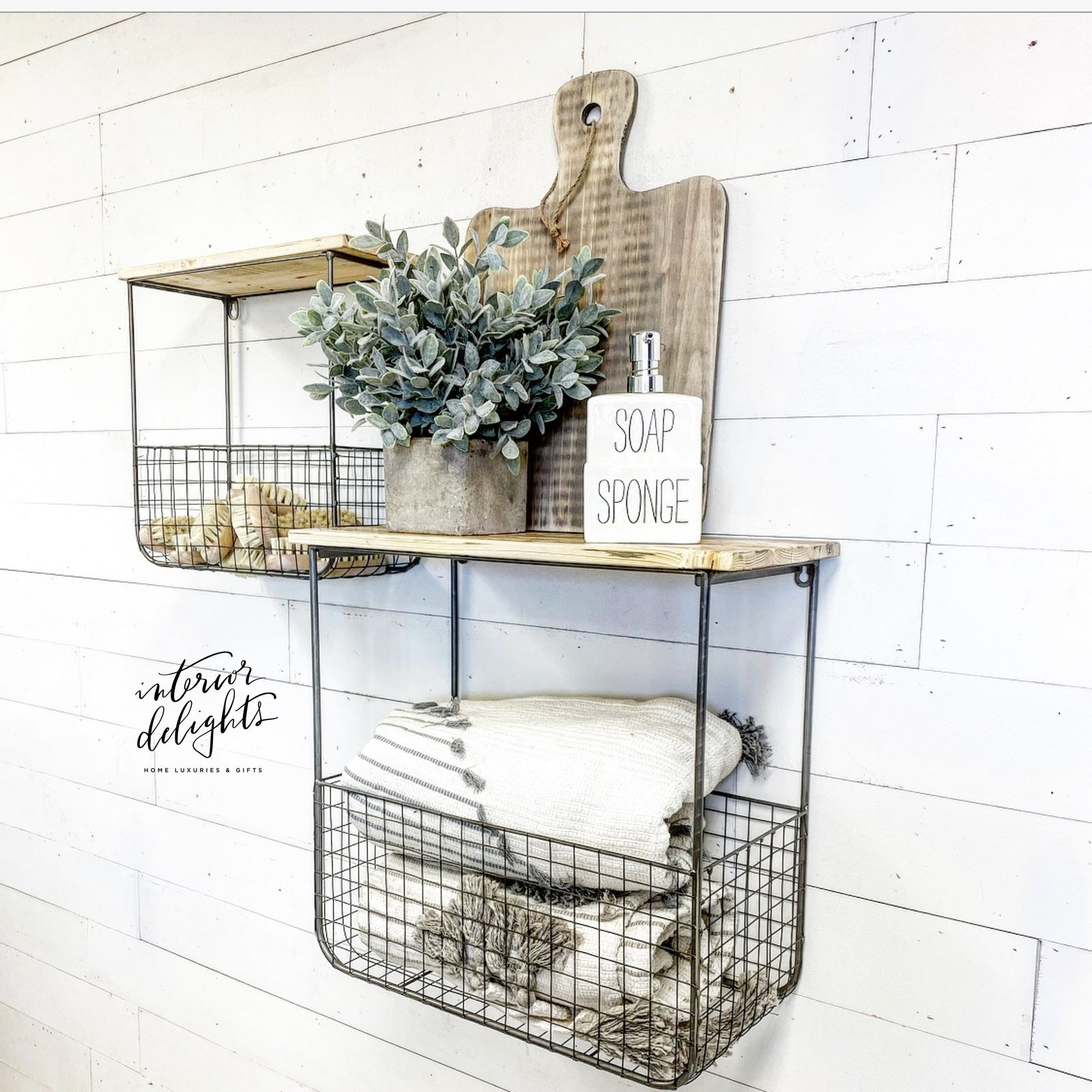 Set of two wood & wire basket shelves
