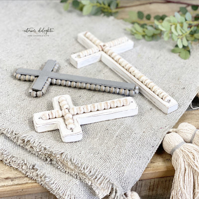 Set of 3 Beaded Wooden Crosses - Interior Delights Parker