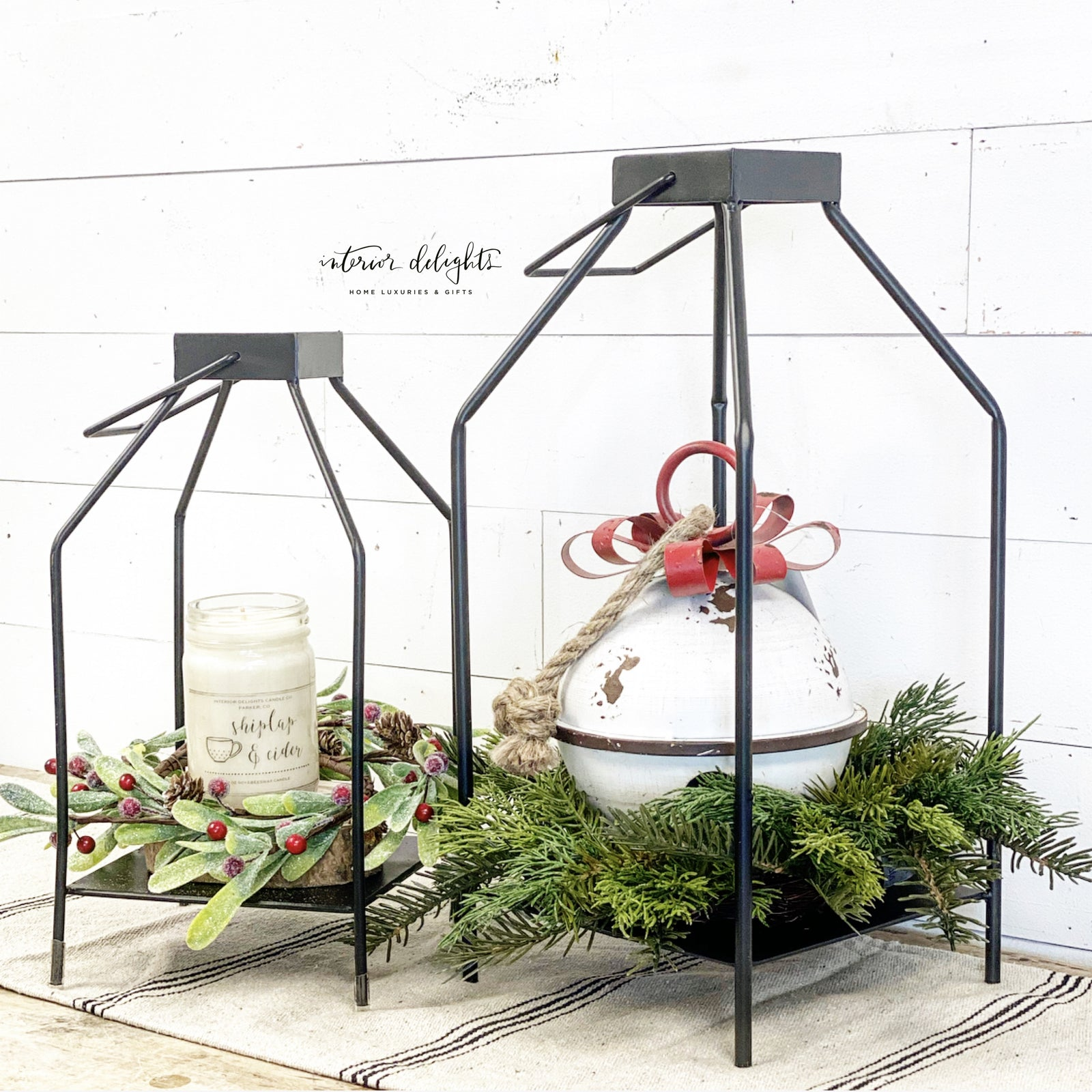 Pair of Two Black Candle Lanterns