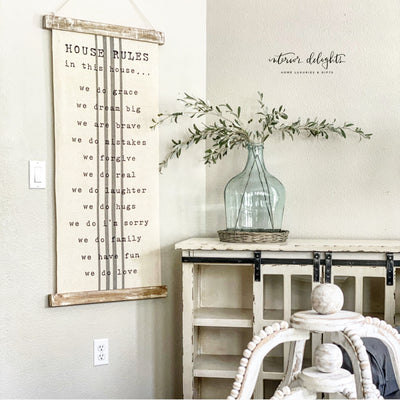 House Rules Hanging Canvas - Interior Delights Parker