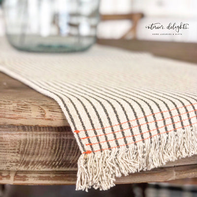 Cream runner with black stripes - Interior Delights Parker