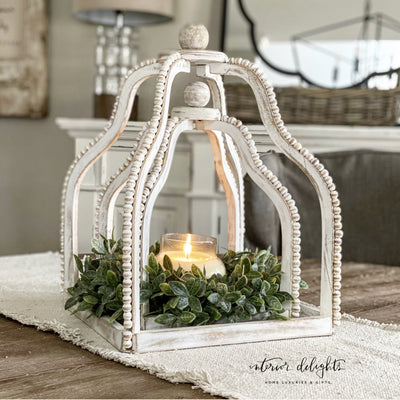 Beaded Wooden Lantern Set - Interior Delights Parker