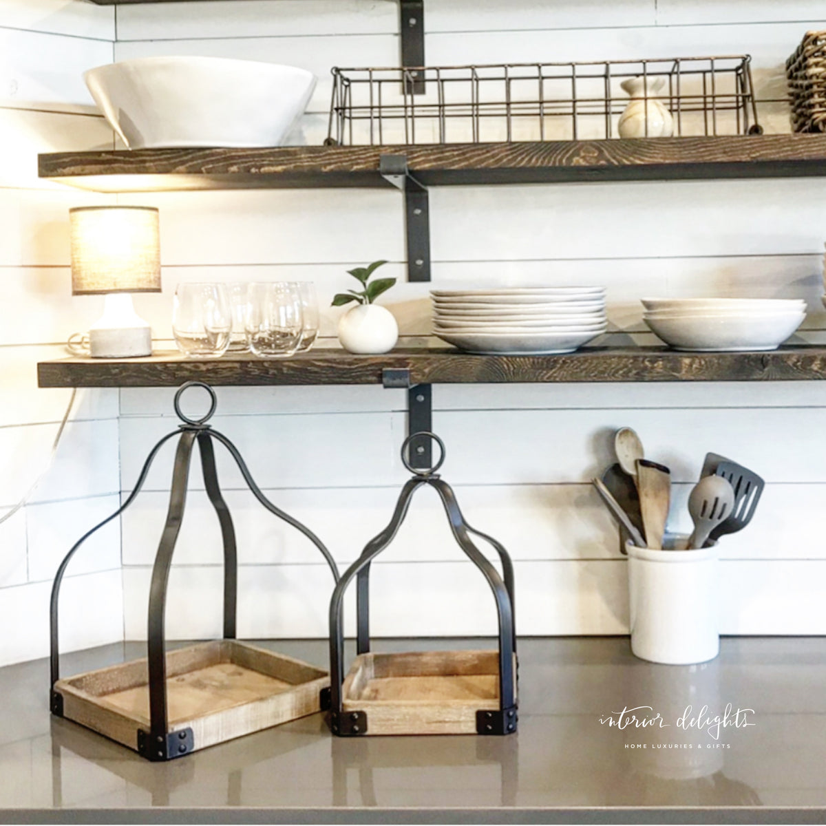 Pair of Metal and Wood Lanterns - Interior Delights Parker