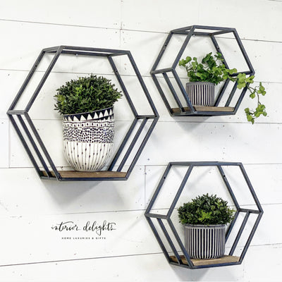 Hexagon Shaped Shelves (Set of 3) - Interior Delights Parker