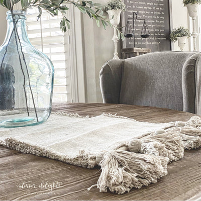 Ivory Tasseled Table Runner - Interior Delights Parker
