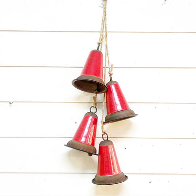 Group of 4 hanging red bells - Interior Delights