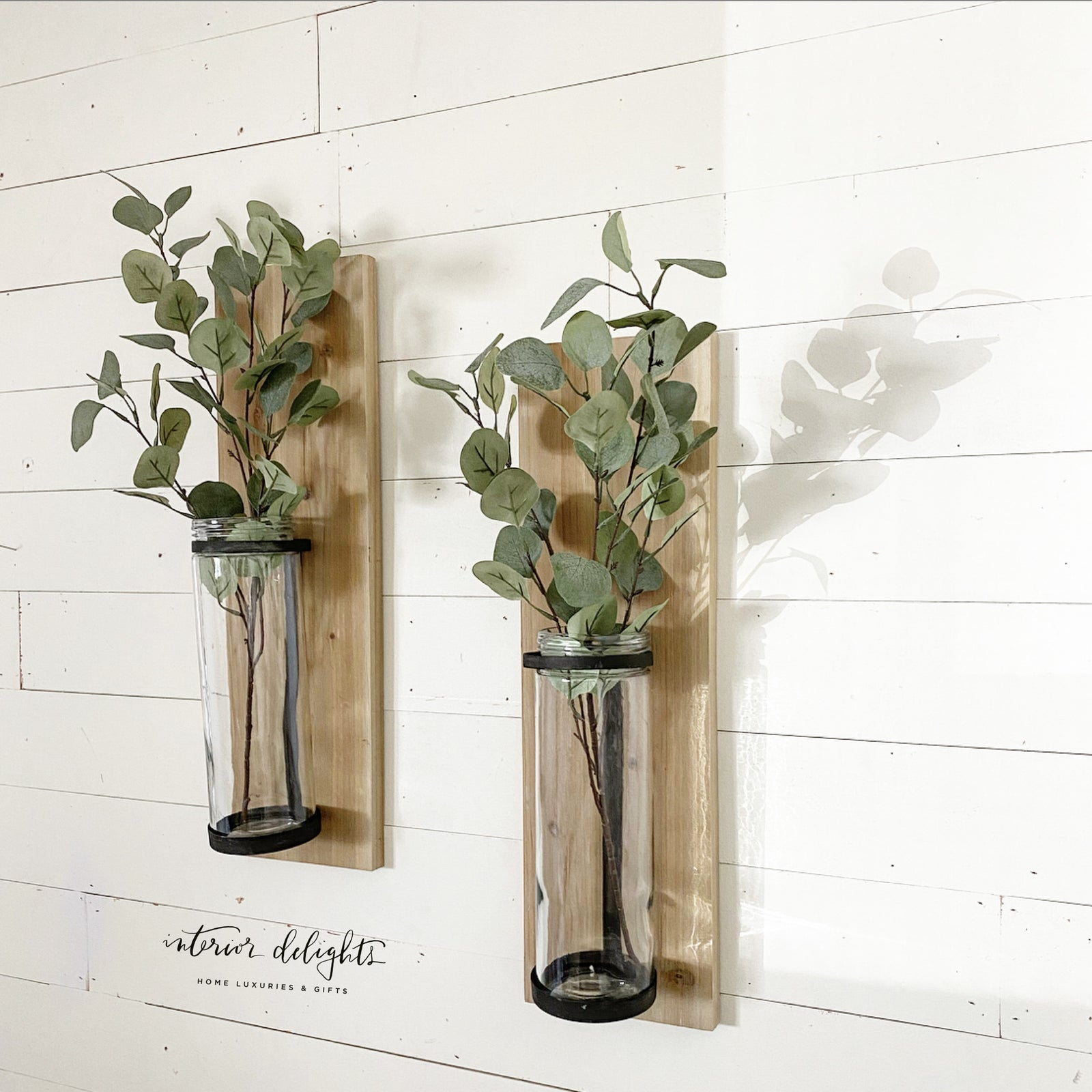Pair of two wood & glass wall vases