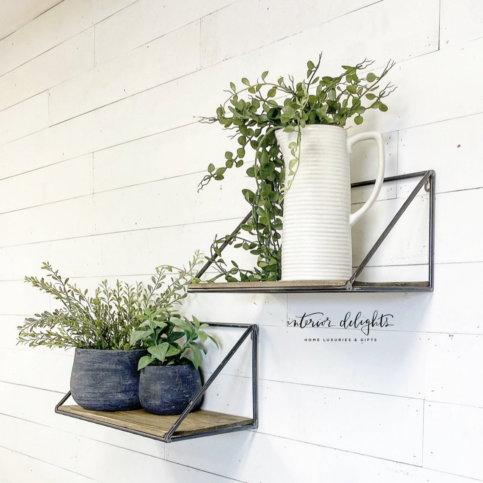 Set of 2 Industrial Wall Shelves