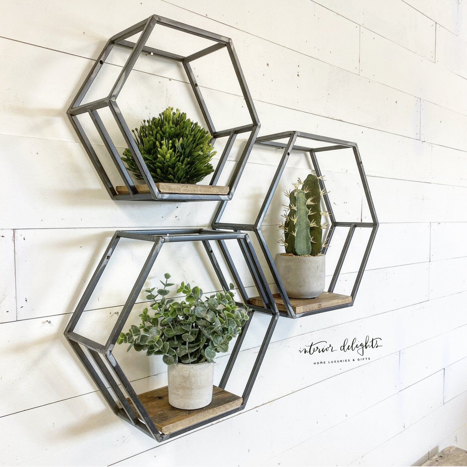 Hexagon Shaped Shelves (Set of 3)