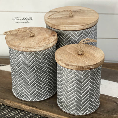 SOLD OUT Herringbone Canister - Interior Delights Parker