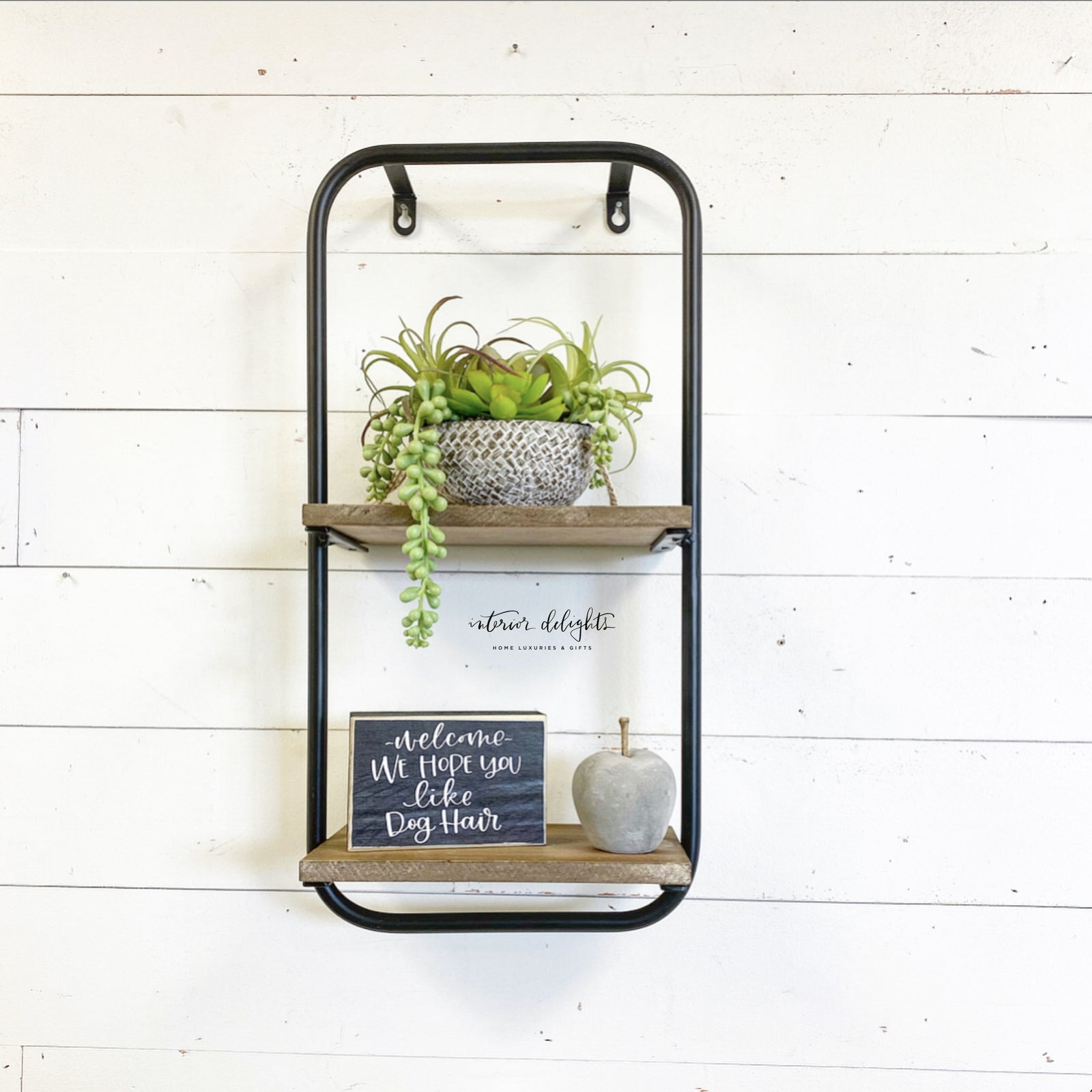 Two Level Wood & Metal Shelf