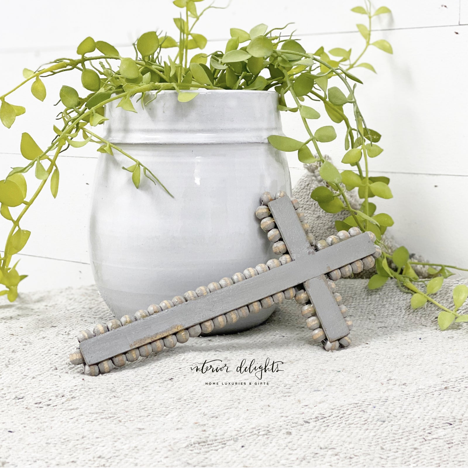 Gray Beaded Cross