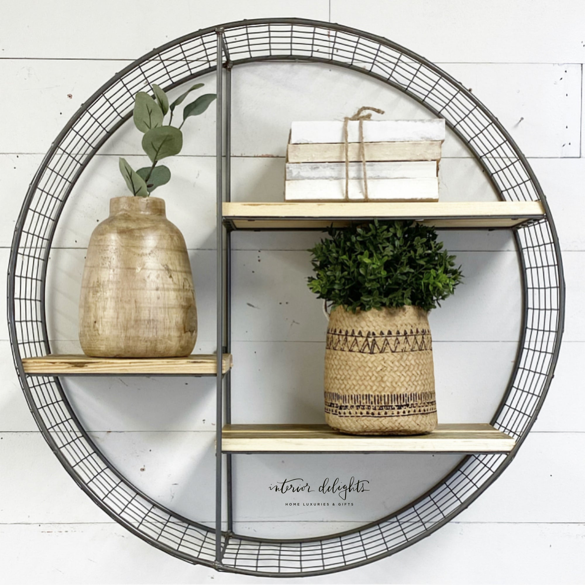 Mesh & Wood Circular Shelf - Interior Delights Parker