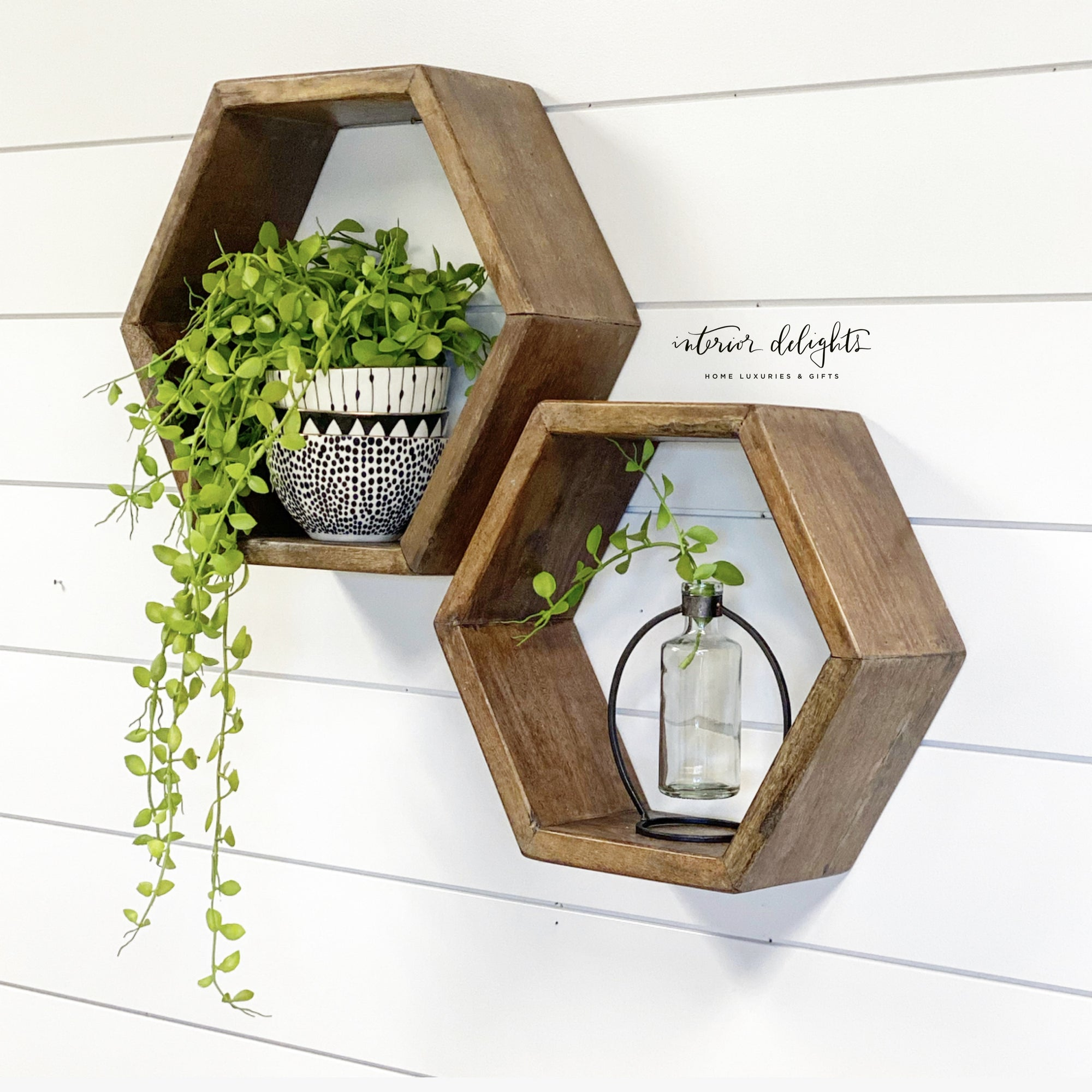 Wooden Hexagon Shelf Set of 2