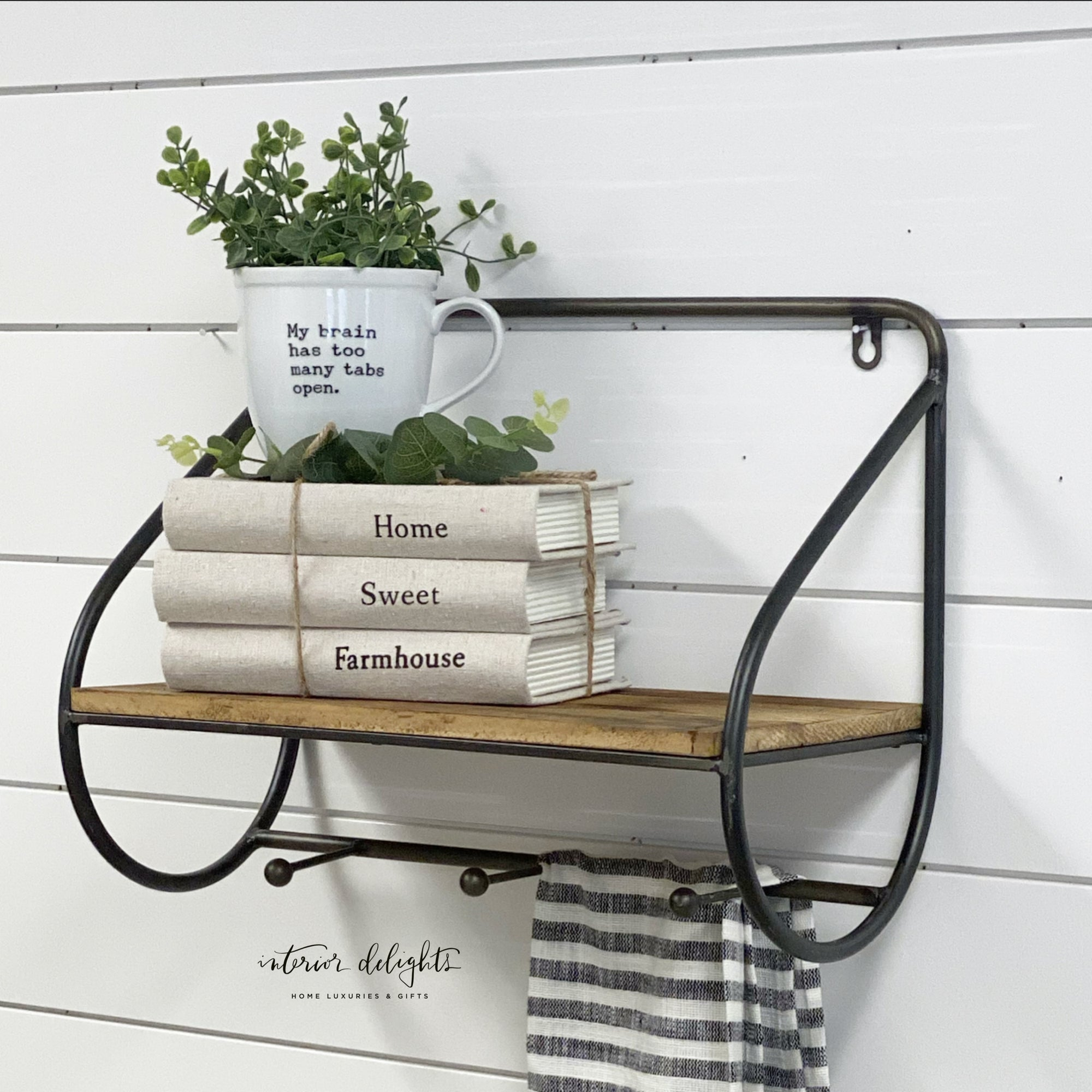 Modern Wall Shelf with Hooks Tin
