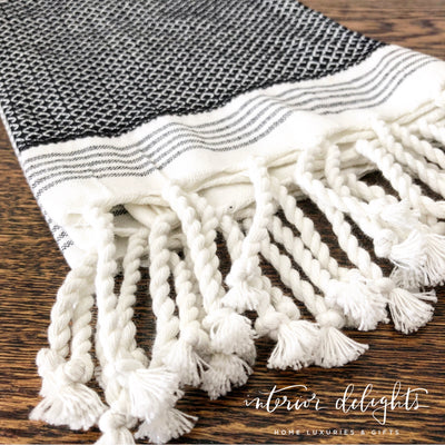 Turkish Black and White Towel with Fringe - Interior Delights Parker