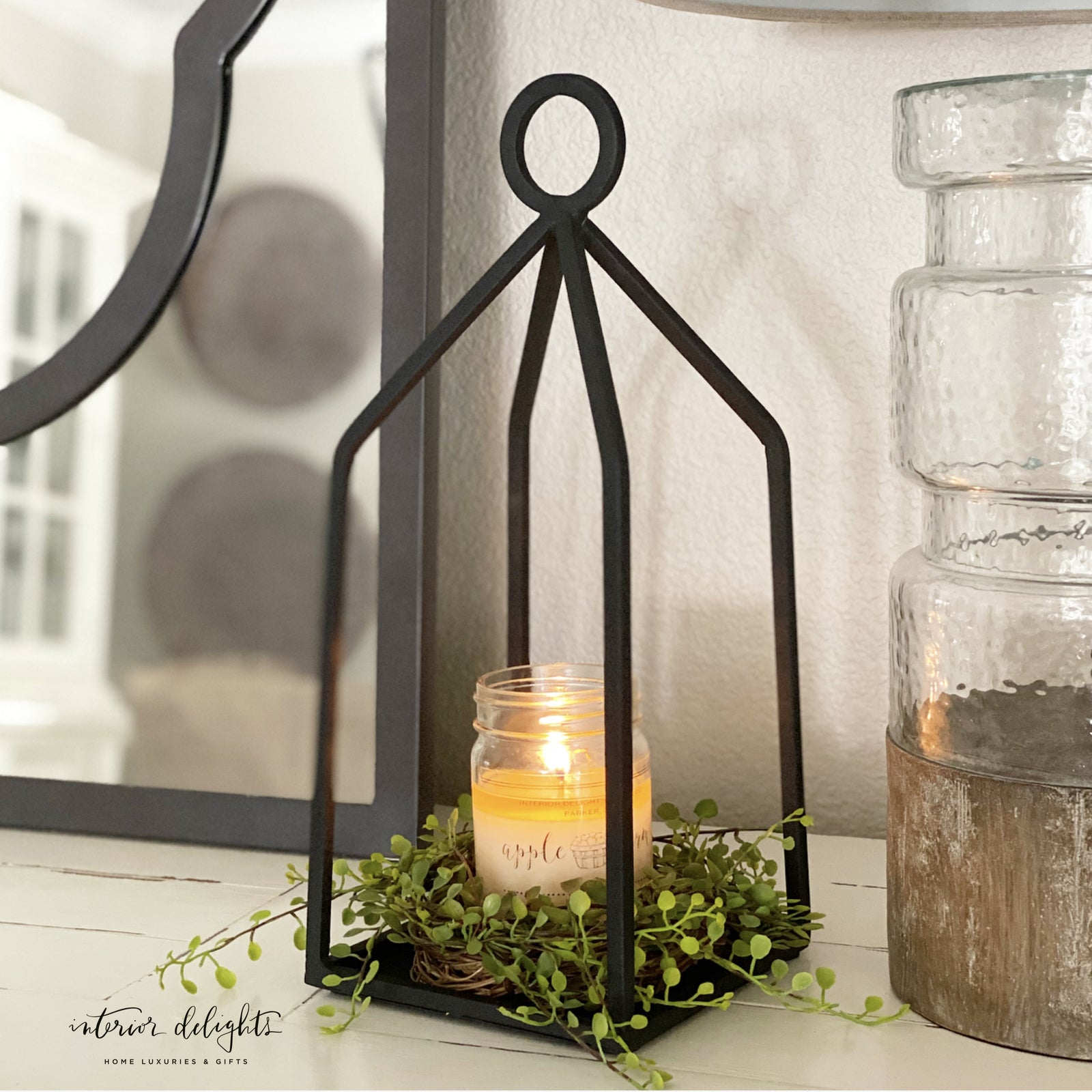 Round Top Iron Candle Lantern