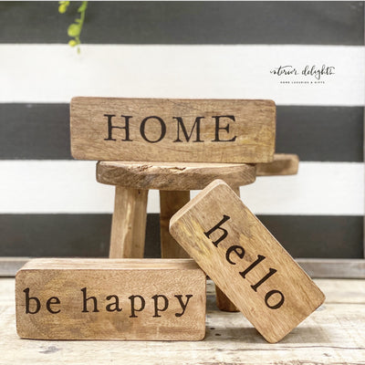 Set of 3 Wooden Block Signs - Interior Delights Parker