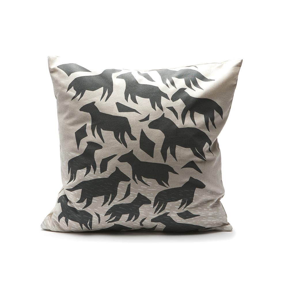 Throw Pillow - Dream Animals in Charcoal