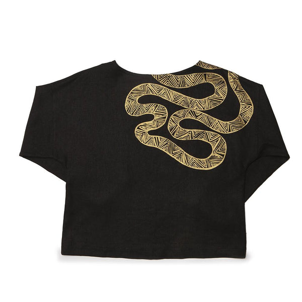 L/S Ida Top - Serpent on Black