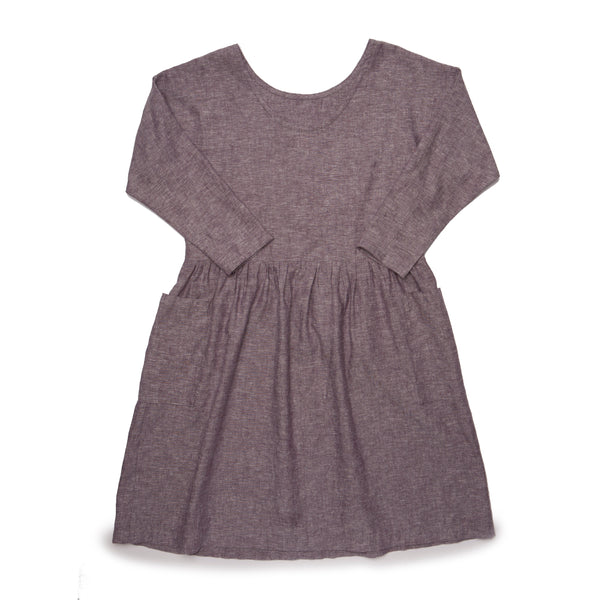 L/S Ida Dress - Wine Chambray