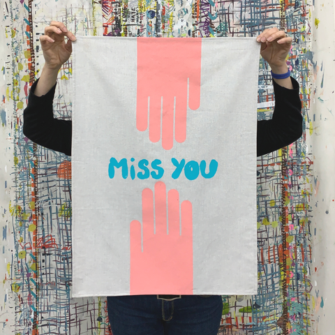 Tea Towel -  'Miss You'