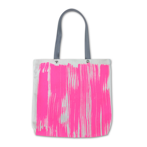 Pocket Tote Bag - Neon Pink Brushstroke