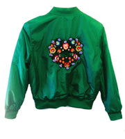 My heart green bomber jacket