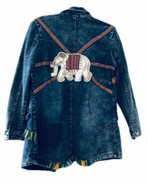 Elephant pleaded jean jacket