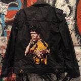 Bruce lee waxed black jean motor biker jacket