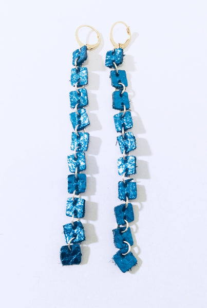 Long Metallic Blue Leather Earrings