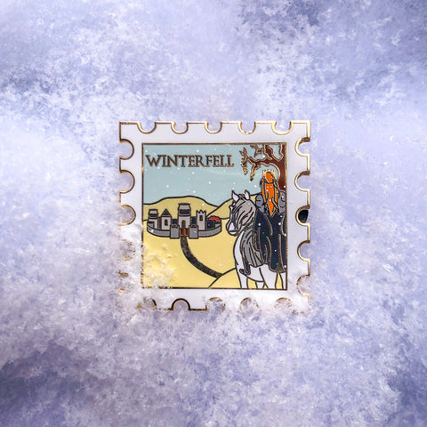 Winterfell - December's Destination Stamp Enamel Pin
