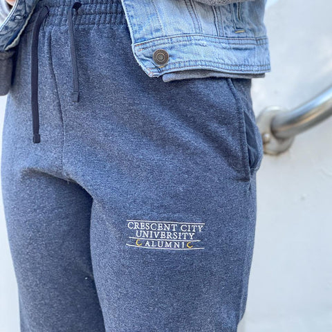 University Alumni Embroidered Boyfriend Joggers - Joggers