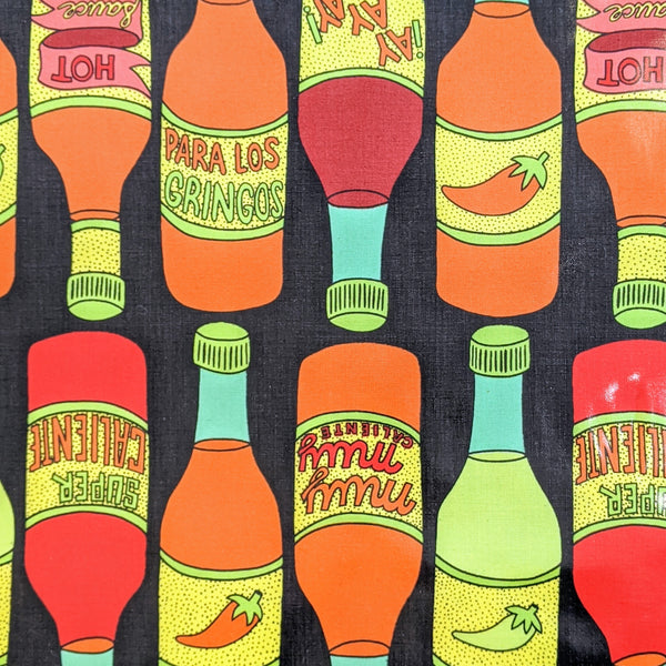 Laminated Fabric: Hot Sauce in Black