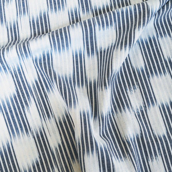 Boro Wovens - Ikat Indigo Stripes with White