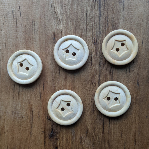 Wooden 2 Hole Star Button 20mm