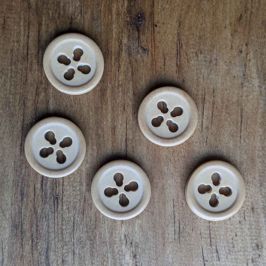 Wooden 4 Hole Button 17.5mm
