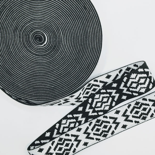 "1 1/2"" Black and White Waistband Elastic"