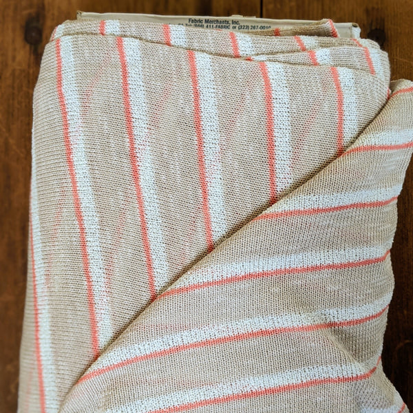 Sweater Knit Neutral with Orange Stripe