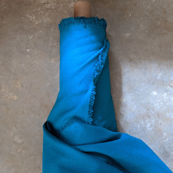 Raw Silk Noil: Teal Blue