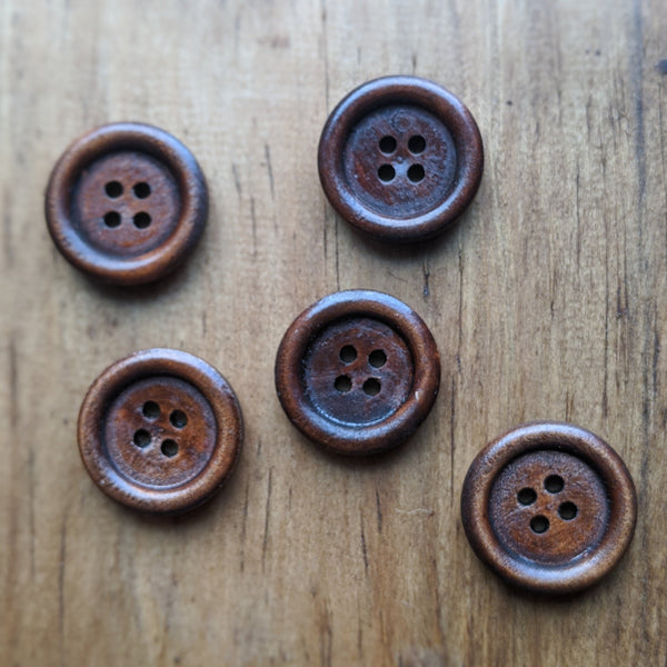 Rimmed Wooden Button 18mm