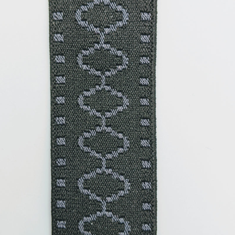"1 3/4"" Black and Grey  Decorative Elastic"