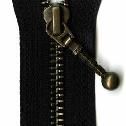 "7"" Inch Antique Brass Closed Bottom Zipper - Multiple Colors"