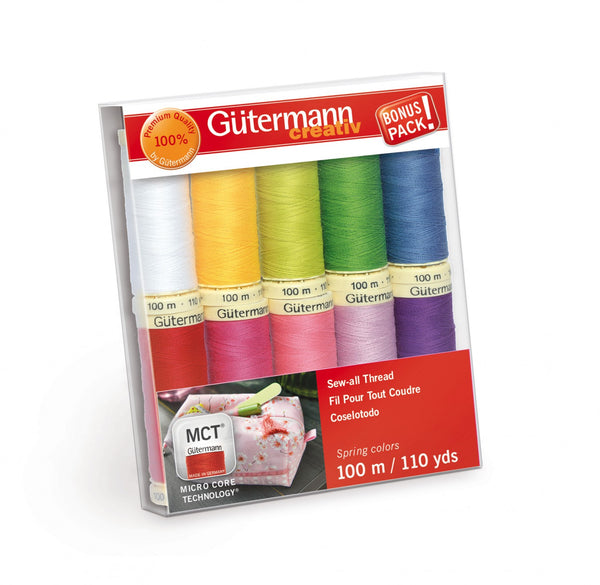 Gutermann Sew-all Thread 10 spools 10 Colors 100m Spring
