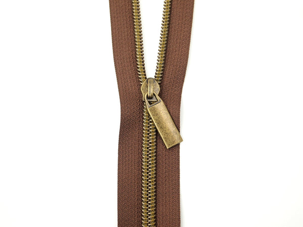 Zipper Tape Brown Antique