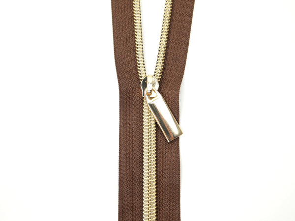 Zipper Tape Brown Gold