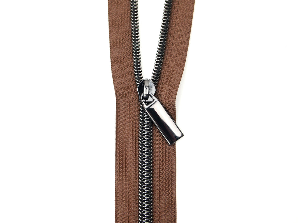Zipper Tape Brown Gunmetal