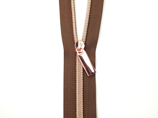 Zipper Tape Brown Rose Gold
